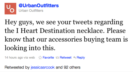 urban outfitters tweet fail