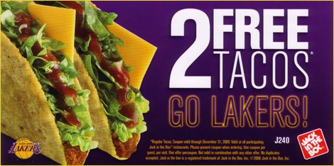 Jack and the box Lakers; promotions in sports