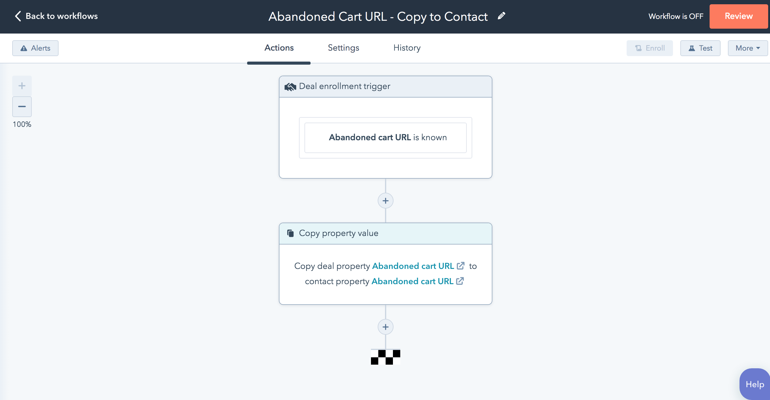 Copy to contact workflow