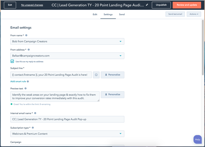 HubSpot Email Settings Tab example