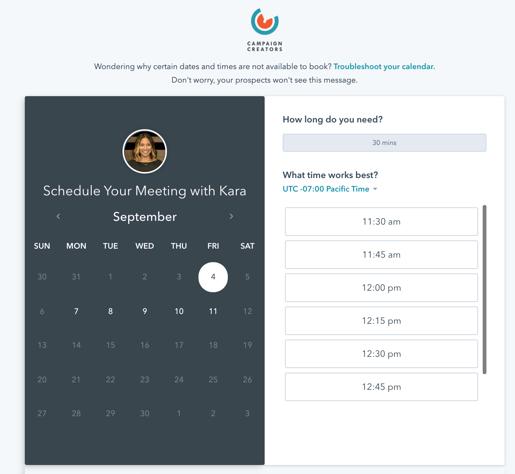 HubSpot Calendar Feature