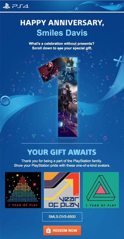 Playstation Anniversary Email