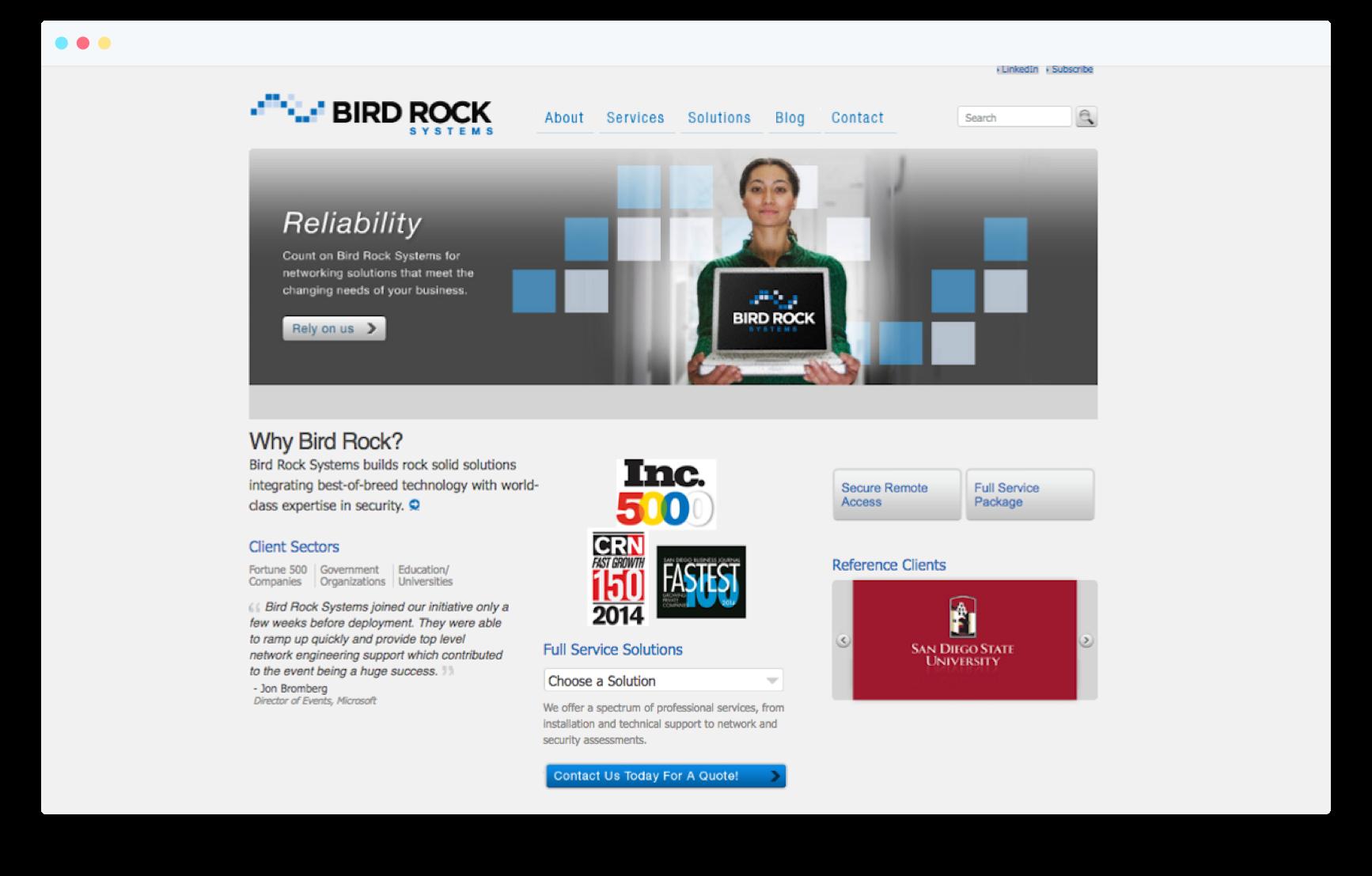 Bird Rock website before