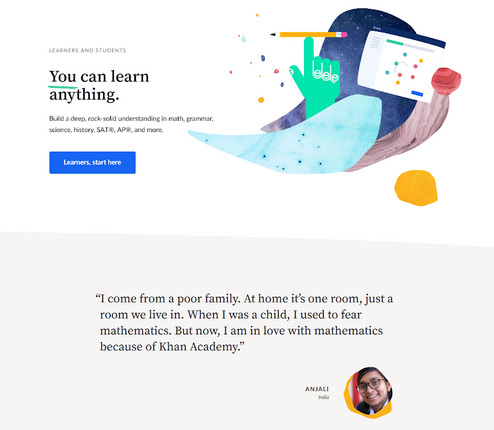 Khan-Academy-Landing-Page-example