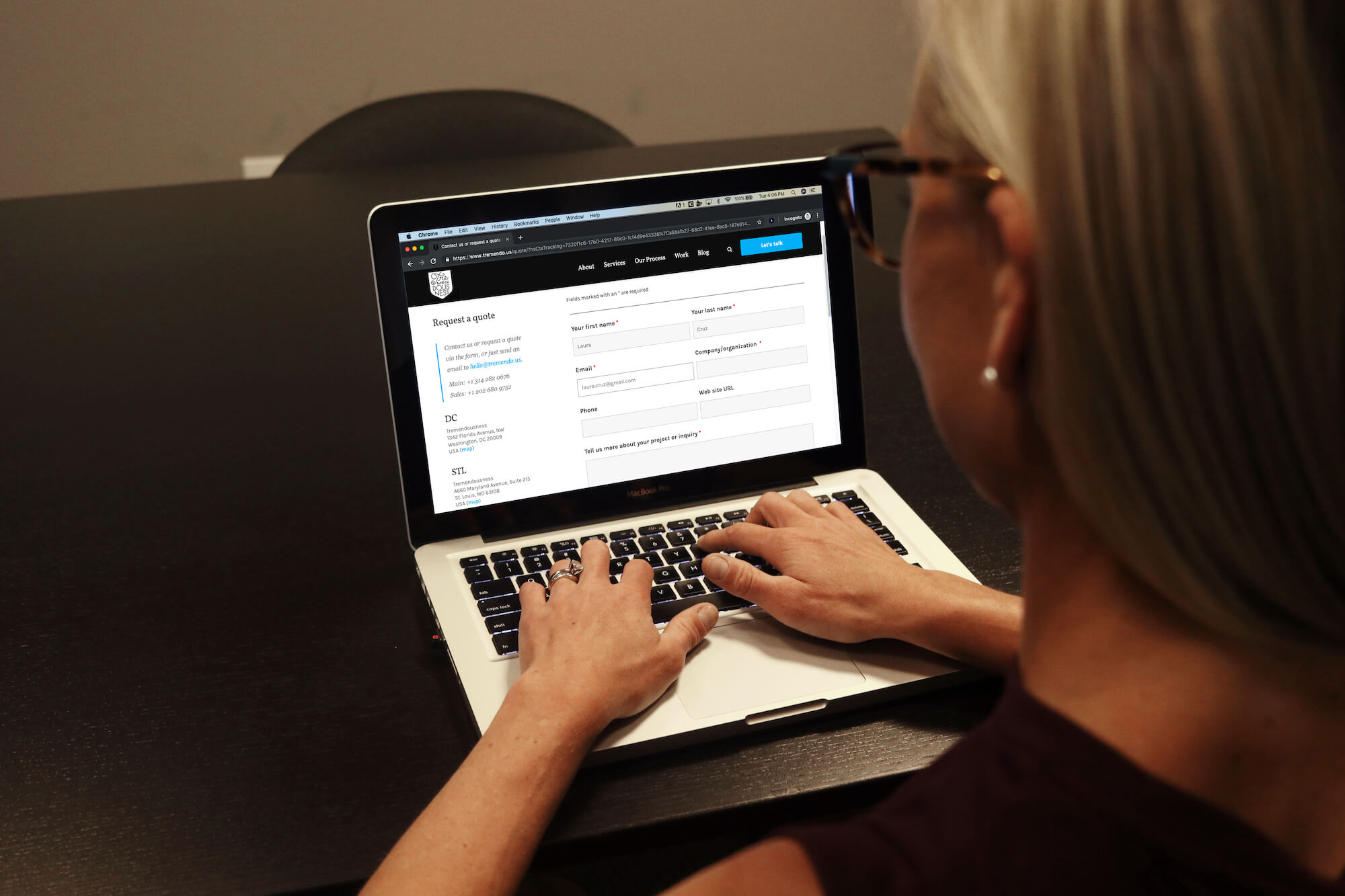 Girl filling out form on landing page