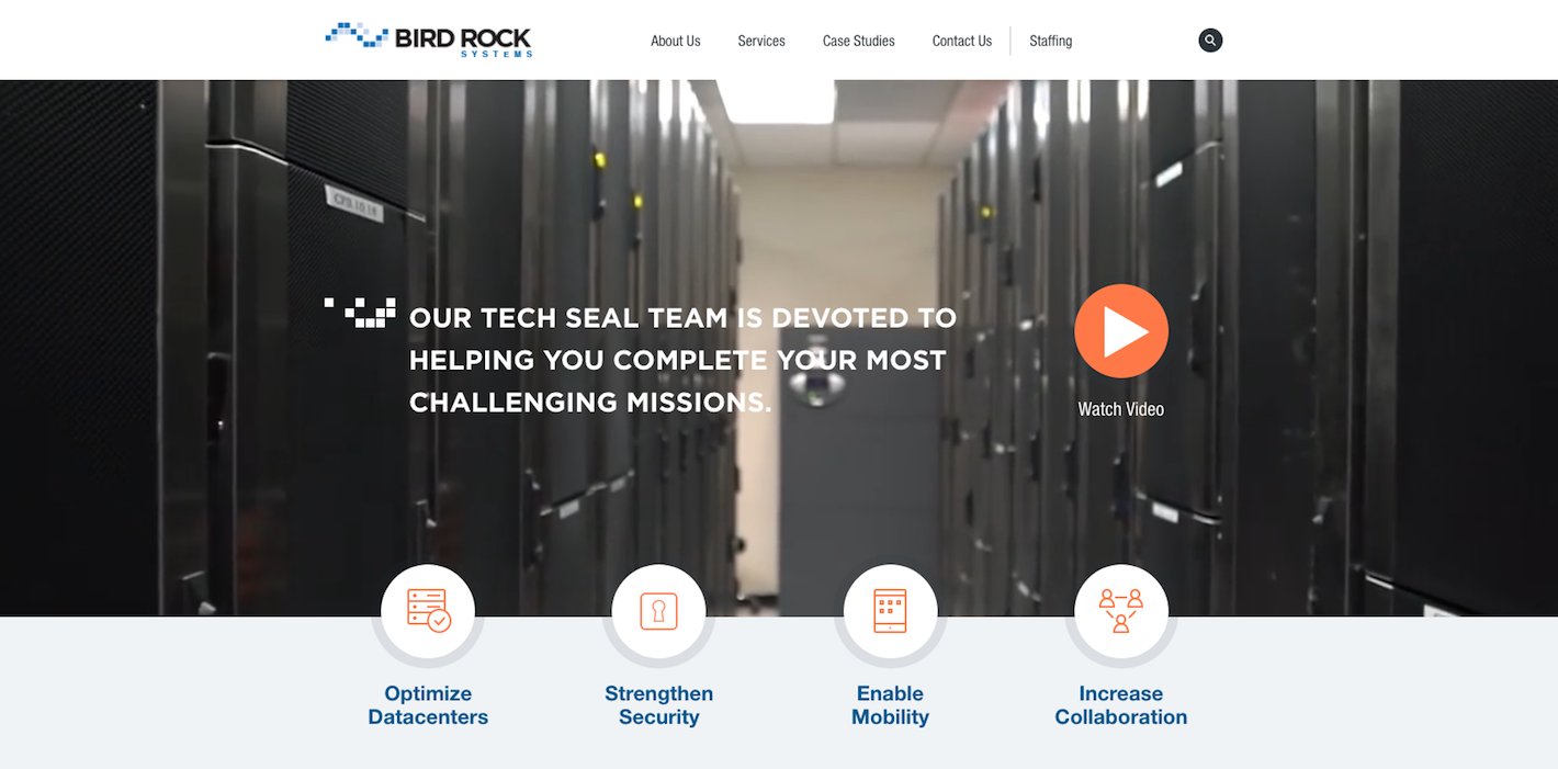 Bird-Rock Systems website after redesign