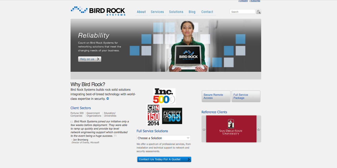 BirdRock Systems website before redesign