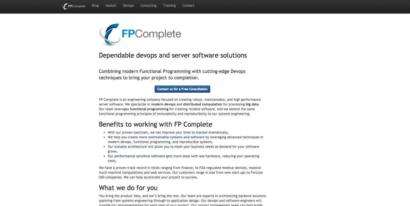 FP Complete website before redesign