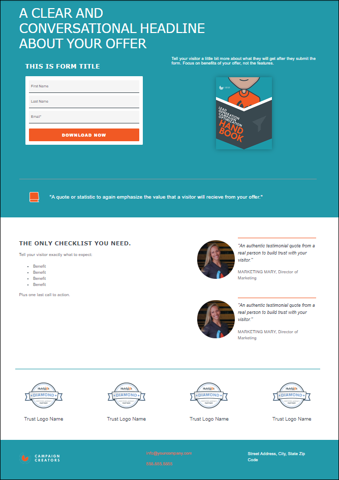 ultimate conversion landing page for hubspot